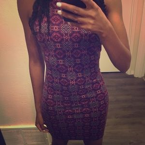 Forever 21 Tribal Print Red Bodycon Dress